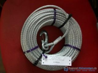 -- NEU -- Stahlseil mit Lasthaken 50 Meter lang - 7 mm stark